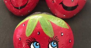 Strawberry Pals Painted Rocks, Story Stones, Garden Stones, Toy and Play Set, Party Favors & Gift