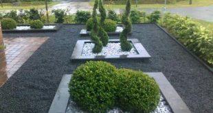 Voortuin, vorgarten, eingang, hauseingang, haus, modern, kieselstein